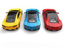 Super sports cars in primary colors - back view Stock Photo