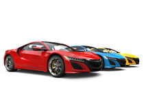 Super sports cars in primary colors - beauty shot Stock Image