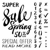 Super Spring Sale Lettering Typography Design. Vector Spring Sale lettering logo. Hand drawn spring sale lettering banner. Vector. Isolated Spring typography stock illustration