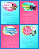Super Spring Sale 70 Off Stickers on Web Posters. Butterflies of multy color with ornaments and decorative wings, vector total discount vouchers stock illustration