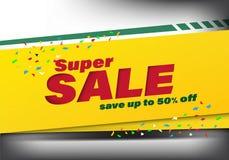 Super sprzedaż szablonu sztandaru specjalny rabat do 50% daleko Super sprzedaż szablonu sztandaru specjalny rabat do 50% daleko,  royalty ilustracja