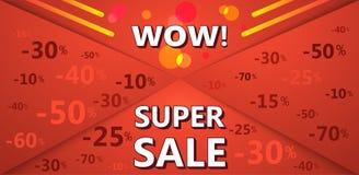 Super sprzedaż sztandar czerwony kolor z dyskontowymi odsetkami Obraz Stock