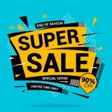 Super sprzedaż sztandaru układu nowożytny projekt na błękitnym tle zdjęcia royalty free