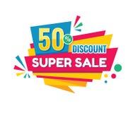 Super sprzedaż - wektorowa kreatywnie sztandar ilustracja Abstrakcjonistyczny pojęcie rabata 50% promocyjny układ na białym tle m ilustracji