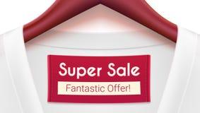 Super sprzedaży reklamy sztandar Odziewać z etykietki obwieszeniem na wieszakach Twórczości reklama z fantastyczną ofertą dla twó Obrazy Royalty Free