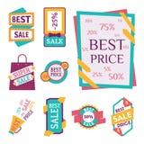 Super sprzedaży sztandarów ekstra premiowy tekst w kolor rysującej etykietka zakupy biznesowego interneta promocyjnej wektorowej  royalty ilustracja
