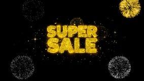 Super sprzedaży złoty tekst mruga cząsteczki z złotym fajerwerku pokazem