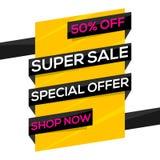 Super sprzedaż plakat, sztandar lub ulotka projekt, Obrazy Stock