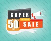 Super sprzedaży szablonu marketingowy sztandar Fotografia Stock