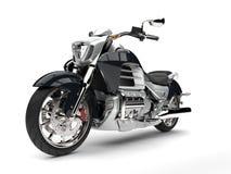 Super srebny nowożytny potężny motocykl - frontowego widoku zbliżenia strzał Fotografia Royalty Free