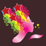 Super star. Colorful illustration of a girl blowing a kiss (stars Royalty Free Stock Image