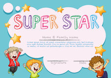 Super star award template with kids in background Stock Photos