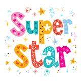 Super star decorative lettering type design Royalty Free Stock Photos