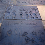 Super star's handprints in Hollywood Boulevard Royalty Free Stock Photography