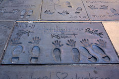 Super star's handprints in Hollywood Boulevard Royalty Free Stock Image