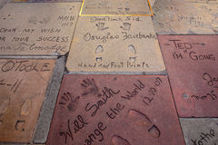 Super star's handprints in Hollywood Boulevard Royalty Free Stock Photo