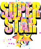 Super Star T-shirt print graphics. Watercolor star Royalty Free Stock Photos