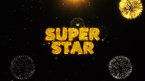 Super Star Text on Firework Display Explosion Particles.