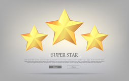 Super Stars. Three Golden Stars. Silver Background Stock Image