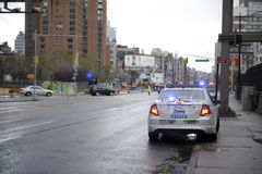 After super storm Sandy in new york. Police officers directing traffic in lower manhattan street after super storm Sandy Royalty Free Stock Photography