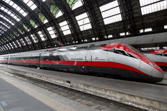 Super streamlined train. In Milan Central Station Royalty Free Stock Photos