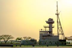 Super structuur van HTMS Thonburi, de oude Koninklijke Thaise zware Marine stock foto
