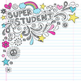 Super Student Back to School Sketchy Doodles Vecto. Super Student Back to School Notebook Doodles Hand Drawn Vector Illustration on Lined Notebook Paper Stock Photography