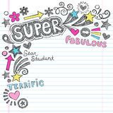 Super Student Praise Back to School Notebook Doodl. Praise Phrases Super Student Back to School Sketchy Notebook Doodles Vector Illustration on Lined Paper stock illustration