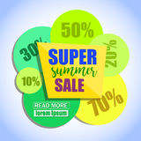 Super Summer Sale Paper Banner Design. Stock Photos