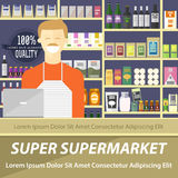 Super supermarket flat design layout. Vector illustration of smiling seller in a store with full shelves of different abstract goo Royalty Free Stock Photography