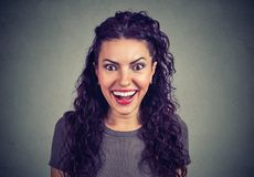 Super surprised girl looking at camera royalty free stock photo
