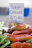 Super Sweet Chillies. Market Stall Sign Selling Sweet Chillies For $2.50 A Bunch Stock Photo