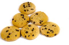 Super sweet chocolate chip cookies. A cookie is a baked or cooked food that is small, flat and sweet. It usually contains flour, sugar and some type of oil or Stock Images