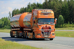 Super Tank Truck Shogun Scania on Freeway Stock Image