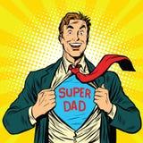 Super tata bohater z radosnym uśmiechem ilustracji