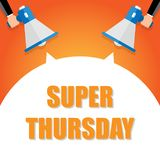 Super thursday announcement, hand holding megaphone and specch bubble announcing big sale, vector eps10 illustration. Super thursday announcement, hand holding royalty free illustration