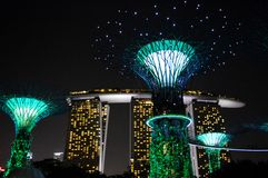 Super Trees Night Scene with Marina Bay Sands, Singapore Royalty Free Stock Images