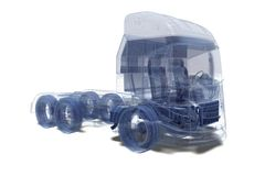 Super Truck. Wire Frame Super Truck in 3D stock image