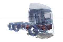 Super Truck. Wire Frame Super Truck in 3D royalty free stock photography