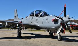 A-29 Super Tucano Attack Plane. Moody, Georgia, USA - October 27, 2017: The Embraer A-29 Super Tucano is a turboprop light attack aircraft used for counter Stock Photos