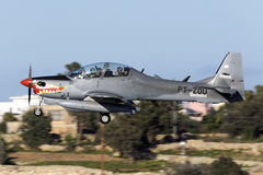 Super Tucano on delivery. Luqa, Malta 21 February 2016: Indonesian Air Force Embraer EMB-314 Super Tucano landing in Malta on a technical stop, on ferry flight Stock Image