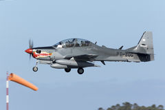 Super Tucano on delivery. Luqa, Malta 21 February 2016: Indonesian Air Force Embraer EMB-314 Super Tucano landing in Malta on a technical stop, on ferry flight Stock Images