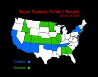 Super Tuesday results map. 2008 Democratic Primary Royalty Free Stock Photos