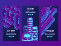 Super ultraviolet banners, digital data and futuristic technology, server room, cloud stotage. Data center, database vector dark ultra violet neon Royalty Free Stock Image