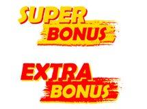 Super- und Extraprämien-, Gelbe und Rotegezeichnete Aufkleber Stockfoto