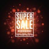 Super verkoop Kortingen 40, 50, 70 percenten Brochure voor de affiche Achtergrond van rode lichten en glans Een heldere flits van vector illustratie