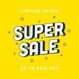 Super verkoopbanner gele Kortingsbanner Vector illustratie royalty-vrije illustratie