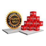 Super verkoopetiket met kubussen van korting Stock Foto