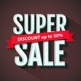 Super Verkoopinschrijving, het malplaatje van het bannerontwerp Super Verkoop, korting Vector illustratie stock illustratie