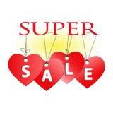 Super Verkoopkenteken, markering Van de de dagverkoop van Valentine ` s de bannermalplaatje Stock Fotografie